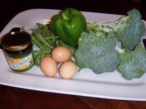 Raw materials for Mean Green Vegetarian Stir-fry