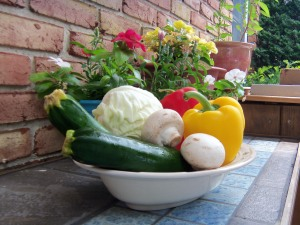 Organic green squash and other stir-fry raw materials