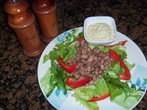 Pinto and Pepper Salad with Creamy Avocado Dressing