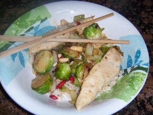Peanut Chicken Stir-fry with Brussel Sprouts with Sweet Sesame Soy Sauce