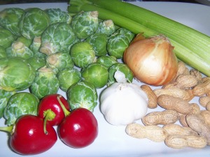 Raw materials for Peanut Chicken Stir-fry with Brussel Sprouts