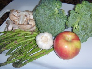 Raw materials for Scrambled Veggie and Apple Autumn Stir-fry