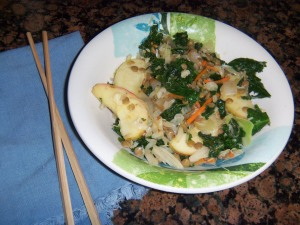 Lentil, Kale & Honeycrisp Stir-fry