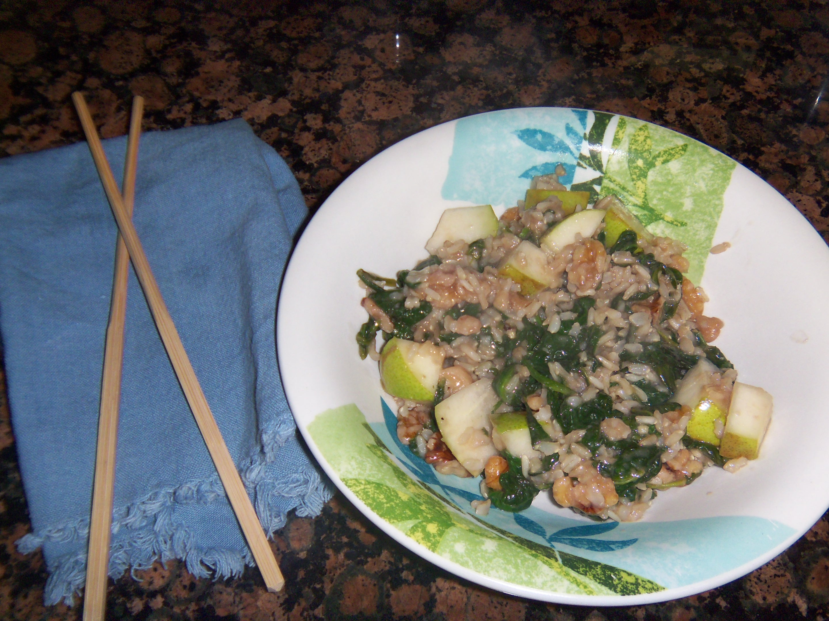 Nutty Stir-fried Rice with Spinach, Pear and Sesame Ginger Sauce