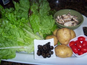 Raw Materials for Turkey Potato Salad with Honey Citrus Balsamic Dressing