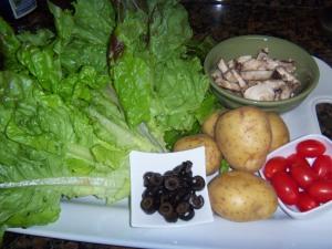 Raw Materials for Turkey Potato Salad with Honey Citrus Balsamic Dressing