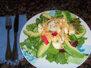 Chicken, Apple and Avocado Salad with Honey Lemon Dressing