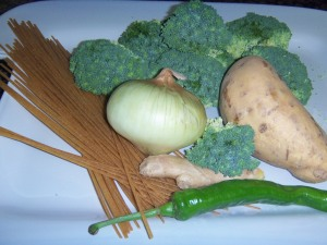 Raw materials for Sweet Potato and Split Pea Stir-fry