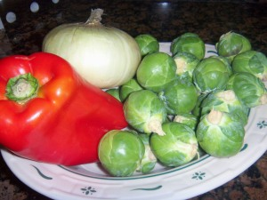 Raw materials for Brussel Sprouts stir-fry