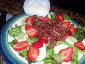 Vegetarian Bean and Berry Salad with Cream Cucumber Dressing